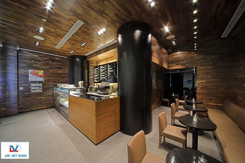 Loa âm trần hiện đại tại quán cafe
